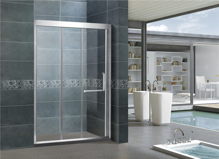 Mirror Color Finished 304 Stainless Shower Boxes With Frame Inline Two Sliding Doors