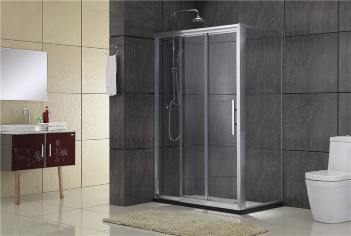 Chromed Sliding Aluminum Shower Doors Double Moving door one Fixed Glass and one Fixed Panel