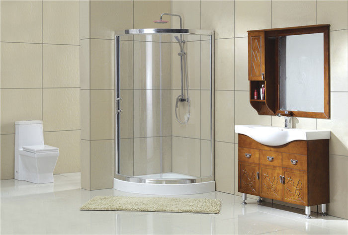 Chromed Sector Sliding Shower Doors With Aluminum Frames and Stainless Steel Wheels