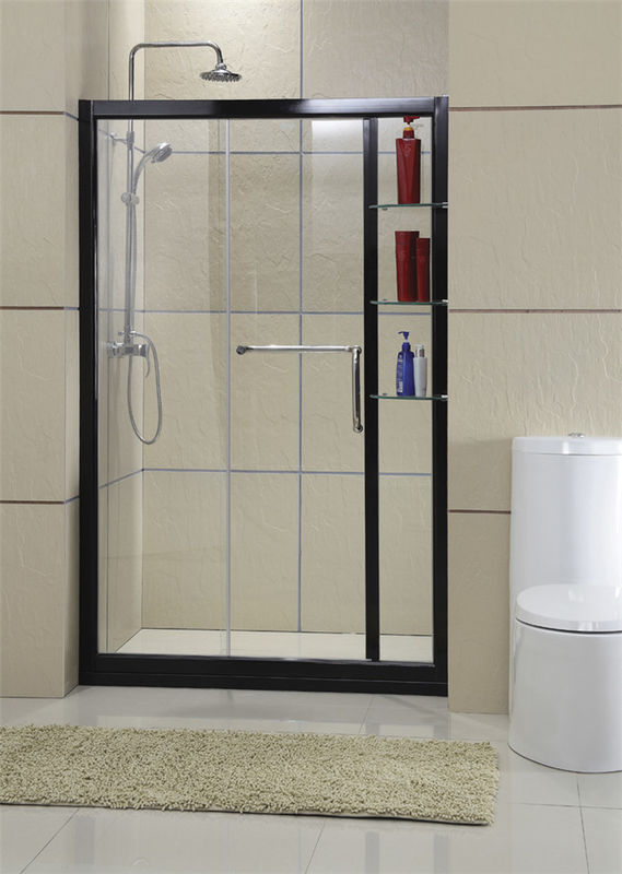 Black Inline With Frames Shower Screen With Outside Shampoo Case  CE / EN14428 Certification