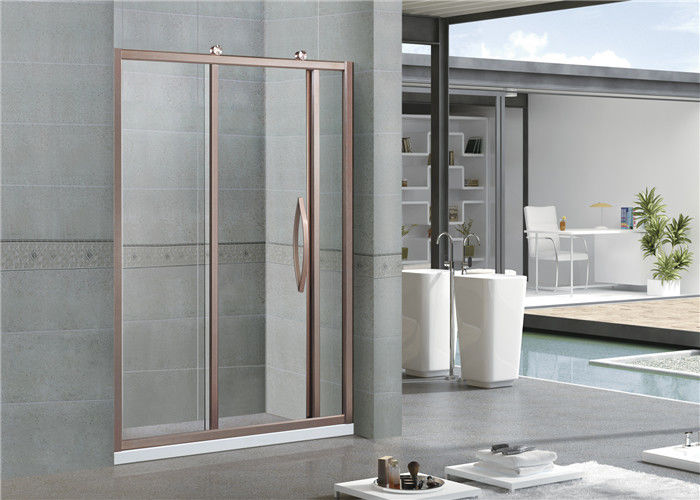 Rose Gold Brushed Sliding Glass Shower Screens  6 MM Clear Tempered Glass With Same Color Handle