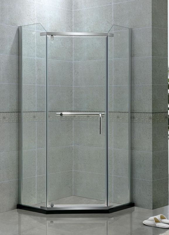 Angle Shape Single Pivot Shower Doors Stainless Steel Swing 8 MM Clear Tempered Glass