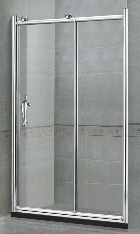Big Copper Wheels Sliding Glass Shower Doors With One Fixed Glass EN14428 Certification